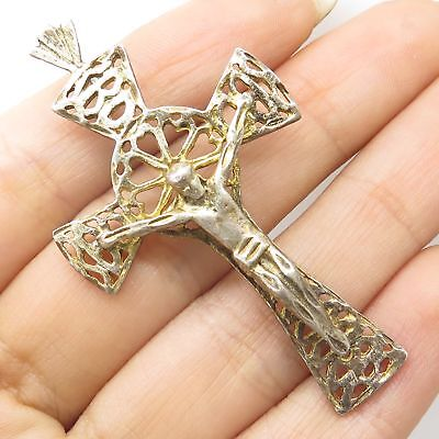 Vtg 925 Silver Gold Plated Large Religious Crucifix Open Cross Pendant