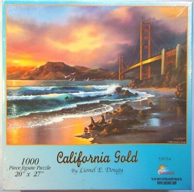 Golden Gate Bridge 1000 Piece Jigsaw Puzzle California Gold Ocean Beach Sunset
