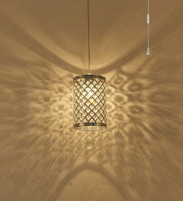 Surpars House Plug in Pendant Light Silver Crystal Chandelier with 17' Cord and