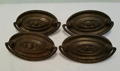 4 Matching Old Victorian  Antique Oval Metal  Drawer Pulls Handles (60H)