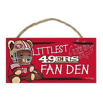 "San Francisco 49ers Littlest Fan 5""x10"" Fan Cave Wood Sign NFL Wall Decor"