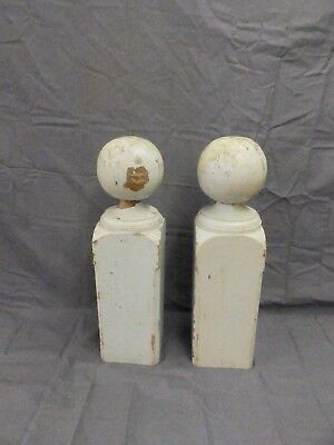 Pair Antique Wood Newel Post Finial Shaby Vtg Chic Staircase Column 18x5 678-17P