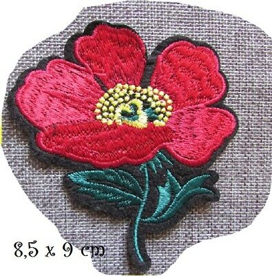C5341 - TIGE FLEUR ROUGE ** 8,5 x 9 cm **  APPLIQUE ÉCUSSON PATCH THERMOCOLLANT