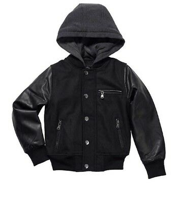 Urban Republic Boy's Novelty Varsity Leather Hooded Jacket - Medium 10/12   UR-3
