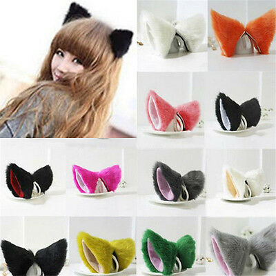 Orecchie da Gatto clip capelli per Fancy Dress Costume KAWAII Cerchietto PELLICC