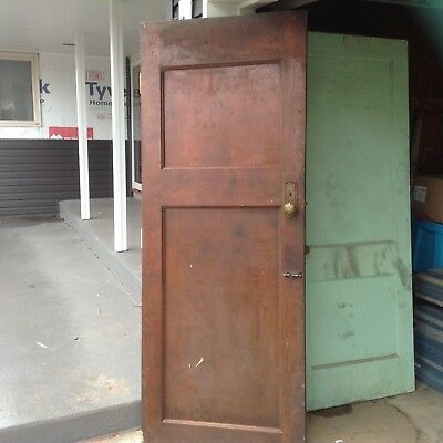 Lot of 4 Antique Vintage Solid Wood Wooden Doors 2 Panel with original hardware