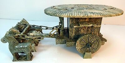 Vintage Rare Chinese Green Carved Hard Stone Horse Drawn Carriage Imperial Wagon