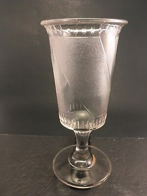 "EAPG 1880s Clear DIAGONAL BAND 8.5"" Tall Footed Celery Vase"