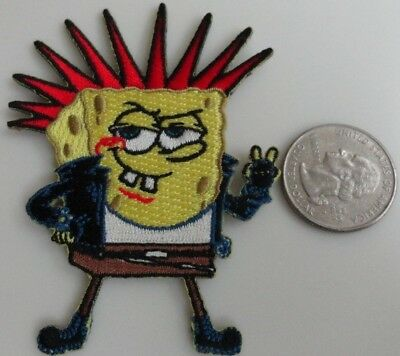 Spongebob Squarepants Punk Rock Mohawk Hair Embroidered Iron On Patch New, Rare