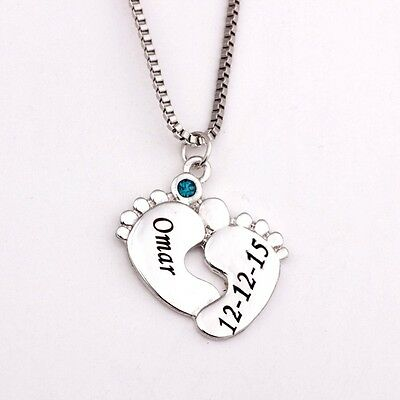 Mom Necklace Metal Baby Feet Child Engraved Name Birthstone Gift Love Silver