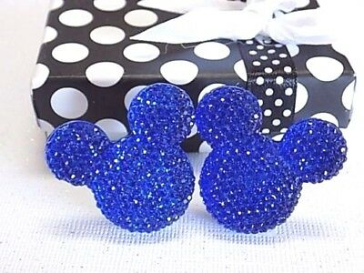 Handmade Mickey Mouse Sparkling Blue Cufflinks Silver Plated, Gift Boxed!