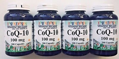 4 X CoQ-10 100mg 800 Capsules Coq10 Co Q10 Coenzyme Anti Aging Heart Health