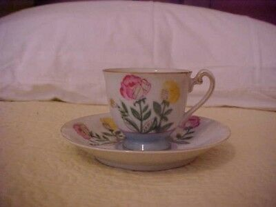 OCCUPIED JAPAN CUP AND SAUCER with PINK AND YELLOW ROSES