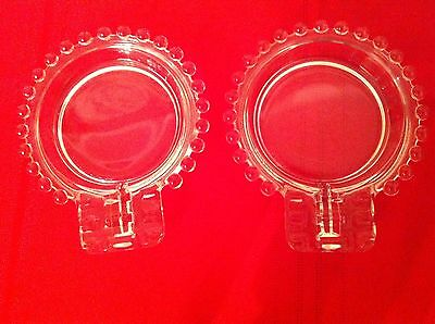 Two Vintage Beautiful  Imperial Glass Clear Candlewick Ash Trays