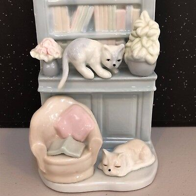 "Porcelain Cat Bookcase Figurine Lladro Style Decoration 7"" Tall"