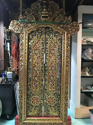 "Huge Balinese Temple Wood Carved Doorway Traditional Barong 8'-6"" Tall"