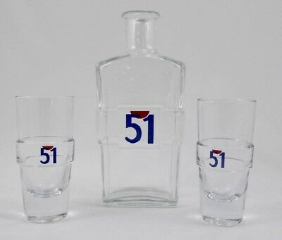 Vintage French Pastis of Marseille 51 Carafe Plus Matching Pair of Glasses