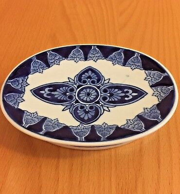 Vintage  Oval Ceramic Soap Dish. Blue and white.