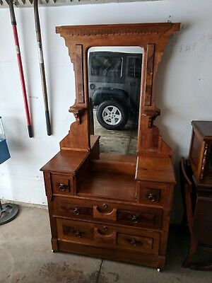 Beautiful Hand Made 1800's Victorian Antique Dresser/ Vanity light with Mirror