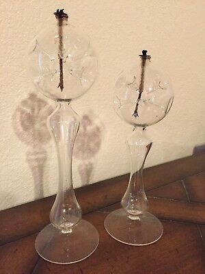 Set Of 2 Decorative Oil Lamps Matching Pair of Oil Lamps Candle Glass with wicks