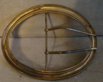 "Antique Gold Toned VICTORIAN Oval Shaped Sash Or Belt Buckle 5.5"" x 4.25"" Early"