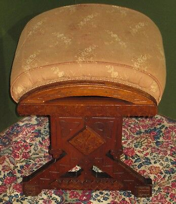 Antique Renaissance Revival Walnut Lift Top Footstool Original Finish Ca1865