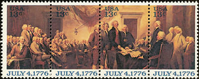 1976 13c Declaration of Independence, Strip of 4 Scott 1691-94 Mint F/VF NH