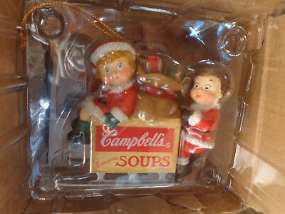 1996 Campbell's Soup Resin Ornament with Kids on Sleigh NIB
