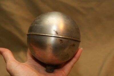 "Vintage Architectural Stainless Steel Flagpole Finial ~4"" Ball Center Seam"