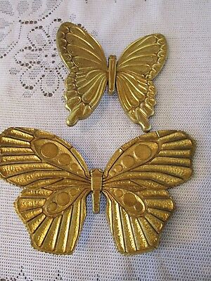 Vintage Dart Ind. Homco Home Interiors Set Of 2 Gold Tone Butterflies #7291 Wall