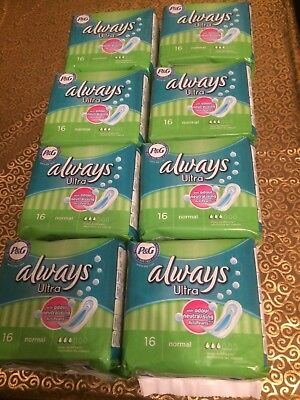 128 x Always Ultra Normal 16 Sanitary Pads (8x16)