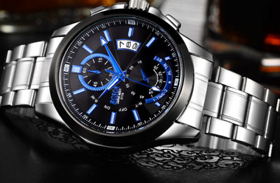 Mens Watch Fashion Watches Steel Sports Casual Analog Wrist Black Uk