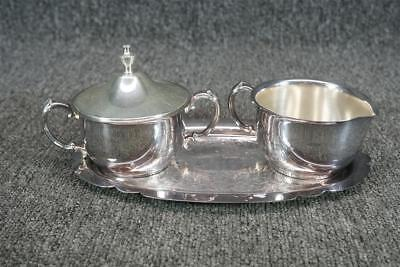 Silver Plate Creamer And Sugar With Lid And Serving Tray Set Sheridan