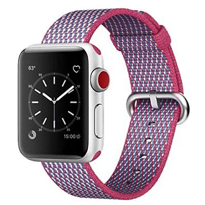 Watch Band For Apple Series 1/2/3 Replacement Strap-38mm Berry Check Woven Nylon