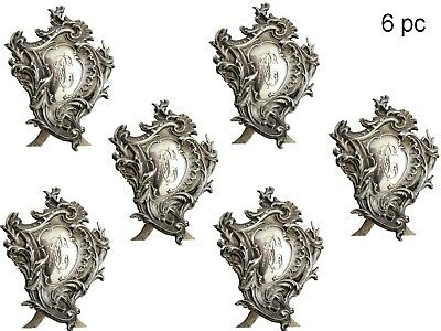 French sterling silver series of 6 pieces  menu holders roccoco 320 grams