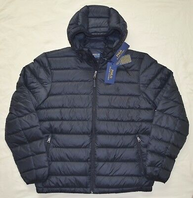 New Large L POLO RALPH LAUREN Mens packable puffer down winter jacket coat black