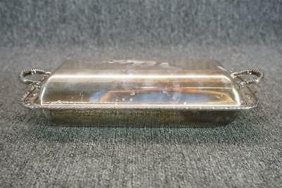 "10.5"" Long Rectangular Silver Plate Lidded Serving Tray"