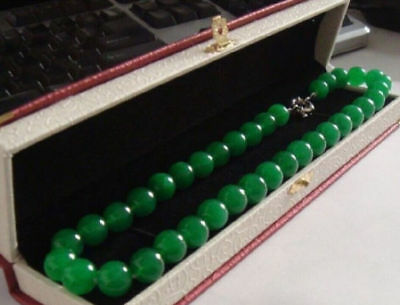 Long 20 Inches 10mm Natural Green Jade Round Bead Necklaces AAA+
