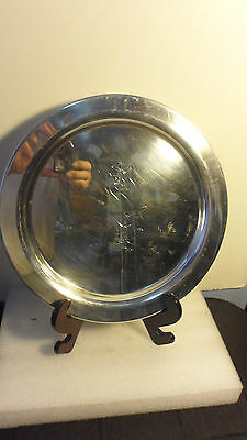 """RARE HAMM's BEAR ETCHED on SILVERPLATED ROUND TRAY by WM. A. ROGERS 12"""""""