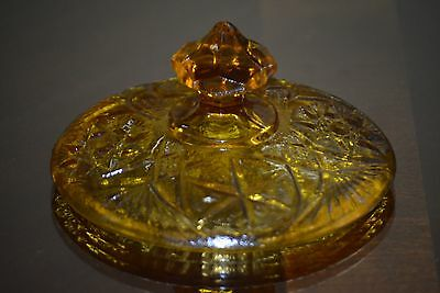 """Indiana Glass Amber Compote Candy Dish Lid 4 1/8"""" D & 2 1/2"""" H Stars Crosses"""