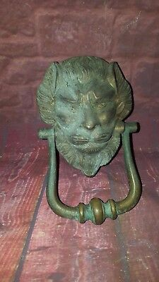 Antique Vintage Old  Large Brass Lion Head Door Knocker Architectural Salvage