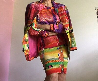 1990s LEONARD PARIS BOLD AND BRIGHT VINTAGE 3 PC SKIRT SUIT FRANCE