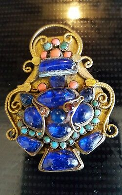 Hand Made Vintage Art Deco Pin Brooch Clip Brass Cabachon Turquoise Antique