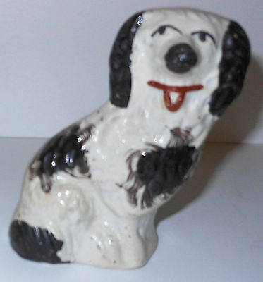 """Staffordshire Black and White Dog Statue, 3.75"""" Tall, Sweety!"""