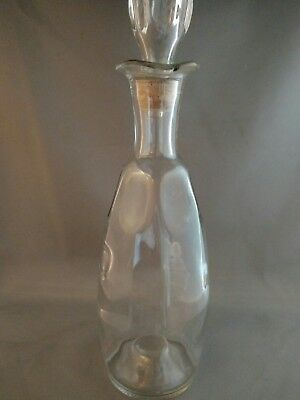 """12"""" Clear Glass Liquor Bottle Decanter with stopper (dimples)"""