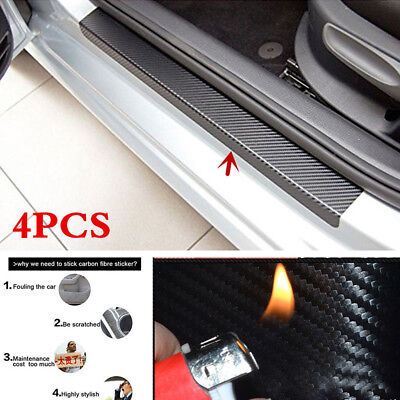 4 X Car Accessories Door Sill Scuff Welcome Pedal Protect Carbon Fiber Stickers