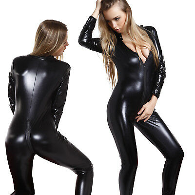 Sexy Ladies Black Faux Leather Wet Look Catsuit Bodysuit Catwoman Cat Costume