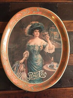 Vintage Delicious 5Cent Pepsi Cola 1909 Gibson Girl Oval Metal Tip Serving Tray