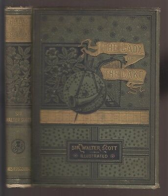 VG 1883 Hardcover Lady of the Lake Sir Walter Scott Epic Poem in Great Condition