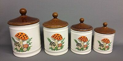 Vintage 1982 RETRO Sears Roebuck and Co. MERRY MUSHROOM Canister Set of 4